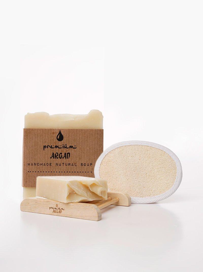 Duo Pack Handmade Argan Soap Hammam + Soap rack + Exfoliating glove